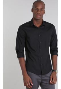 Camisa Masculina Slim Básica Manga Longa Preta