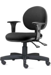 Cadeira 323 Com Bracos Assento Courino Preto Base Metalica - 54840 Sun House