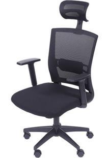 Cadeira Office Regulavel Tela Com Tecido Mesh Preta Base Nylon - 39218 Sun House