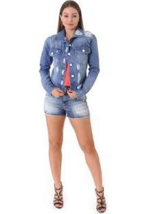 Jaqueta Jeans Opera Rock Destroyer Feminina - Feminino