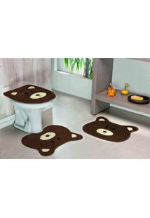 Tapete Jogo Banheiro Formato Urso Café Guga Tapetes