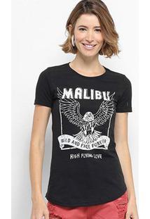 Camiseta Hapuna Baby Look Malibu Feminina - Feminino-Preto