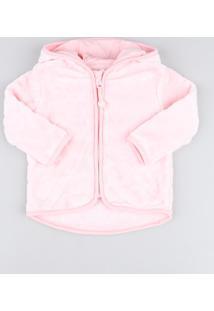 Jaqueta Infantil Em Plush Com Capuz E Orelhinhas Rosa Claro