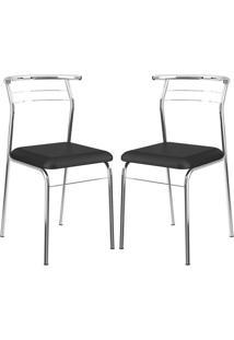 Cadeira 1708 Cromada 02 Unidades Preta Carraro