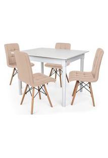 Conjunto Mesa De Jantar Robust 110X90 Branca Com 4 Cadeiras Eiffel Gomos - Nude