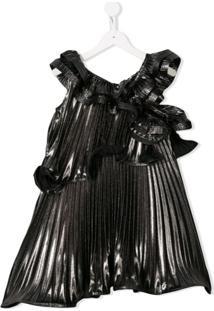 Givenchy Kids Vestido Plissado Com Babados - Prateado