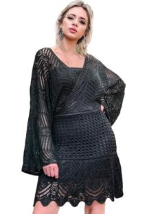 Vestido Livora Curto Manga Flare Preto