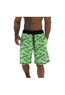 Bermuda Masculina Alto Conceito Moletom Limitado Camuflado Bolinhas Verde