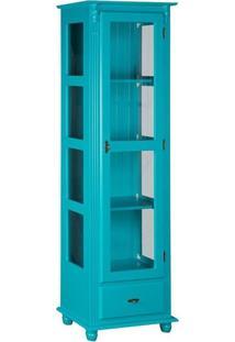 Cristaleira Com Porta E Lateral De Vidro Com Gaveta Azul