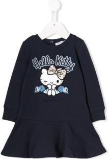 Monnalisa Vestido De Tricô Hello Kitty - Azul