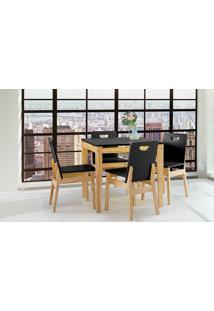 Mesa De Jantar 4 Cadeiras Tucupi 80Cm - Acabamento Stain Natural E Laca Preto