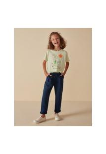 Amaro Feminino Camiseta Infantil Estampa Crianças, Verde Claro