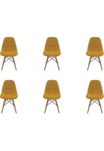 Kit 6 Peças Cadeira Eames Eiffel Rivatti Sem Braço Botonê Amarela