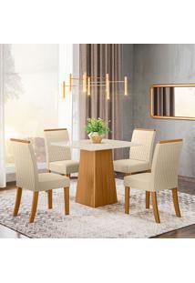 Conjunto De Mesa Com 4 Cadeiras Para Sala De Jantar Barcelona-Henn - Nature / Off White / Linho