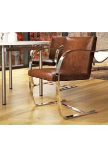 Cadeira Brno - Inox Tecido Sintético Azul Marinho Dt 01022803