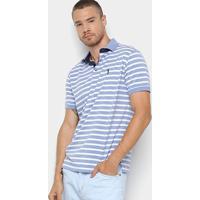 327540c64b Camisa Polo Aleatory Estampa Listrada Masculina - Masculino-Azul+Branco