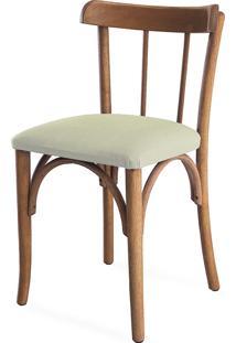 Cadeira Para Sala Estofada Justine - Stain Jatobá - Tec.924 Off White - 43X47,5X78,5 Cm
