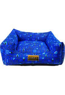 """Cama Quadrada """"Dog""""- Azul Escuro & Preta- 20X60X60Cm4 Patas"""