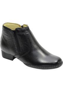 Botina Sola Concha Costurado Conforto Atron Shoes 402 Em Couro Preta Com Zipper