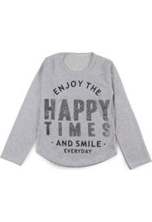 21577d68a Blusa Infantil Happy Times Cinza - Deinha Fashion