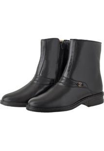 Bota Pessoni Boots & Shoes Social Cano Alto Em Couro Preto - Kanui