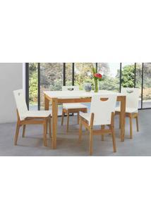Mesa Com 4 Cadeiras De Jantar Tucupi 120Cm - Acabamento Stain Nozes E Laca Branco