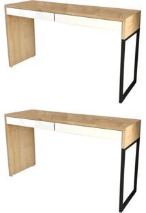 Kit 2 Mesas Para Computador Escrivaninha 2 Gavetas Desk Natura/Branco - Fit Mobel