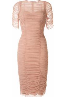 Dolce & Gabbana Vestido Ajustado Com Tule - Neutro