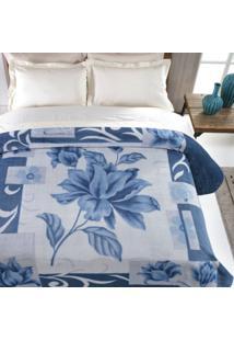 Cobertor Casal Microfibra 1 Peça Kyor Malbec Jolitex Azul