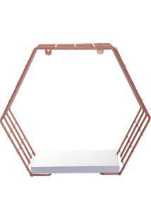 Cubo Hexagonal Com Prateleira Decorativo- Ros㪠Gold & Brmetaltru