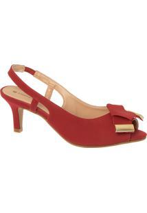 Sandália Peep Toe Vermelha Com Laço Detalhe Ônix