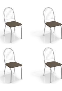 Conjunto Com 4 Cadeiras De Cozinha Noruega Cromado E Marrom