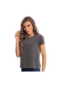 Camiseta Feminina Estonada Malha Premium Preta - Area Verde