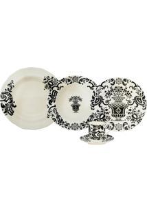 Aparelho De Jantar Porcelana 30 Peças Sevilla - Unissex-Branco+Preto