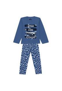 Pijama Infantil Abrange Carro Viagem Azul E Azul Marinho Abrange Casual Azul