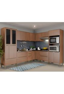 Cozinha Completa Calábria 19 Portas 4 Gavetas Nogueira/Malt - Multimóveis