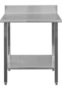 Mesa / Bancada De Apoio 100% Aço Inoxidável Com Espelho - 0,8M (80X70X90Cm) - Br-080C