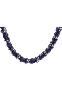 Colar Armazem Rr Bijoux Correntes Com Tecido Azul Marinho - Tricae