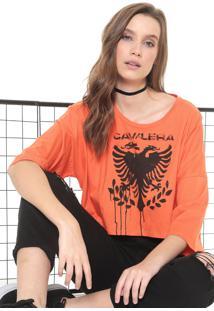 Camiseta Cavalera Águia Stencil Laranja