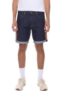 Bermuda Jeans Levis 501 Taper Cut Off Pride Masculina - Masculino-Azul Escuro