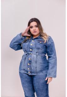 Jaqueta Parka Jeans Com Cinto Feminina Plus Size Com Elastano