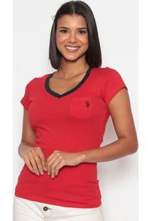 Camiseta Com Bolso - Vermelha & Azul Marinhous Polo