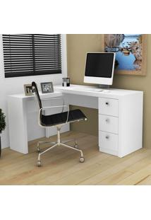 Mesa Para Escritório 3 Gavetas Me4101 Branco - Tecno Mobili
