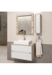 Gabinete Suspenso Para Banheiro Com Espelheira Ravena 80 Balcony Supremo/Cabernet