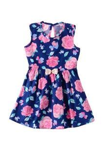 Vestido Flores E Laço Marinho - Elian