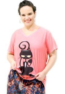 Camiseta Gatinha Florzinha Plus Size Vickttoria Vick Plus Size Rosa