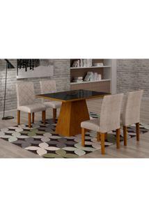 Conjunto De Mesa De Jantar Luna Com 4 Cadeiras Ane I Suede Amassado Imbuia, Preto E Chocolate
