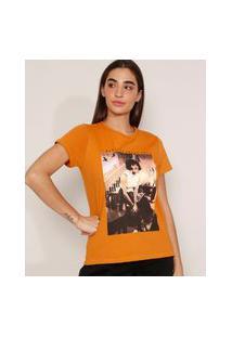 """Camiseta De Algodão Da Banda Queen Freddie Mercury """"I Want To Break Free"""" Manga Curta Decote Redondo Mostarda"""