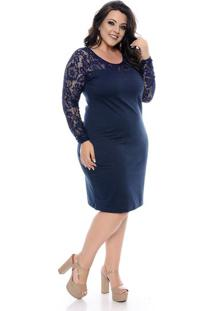 Vestido Tubinho Azul Manga Longa Plus Size - Domenica Solazzo