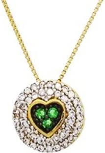 Colar Colar Pingente Coração Verde